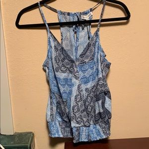 Sexy, fun blue tank with cinched waist